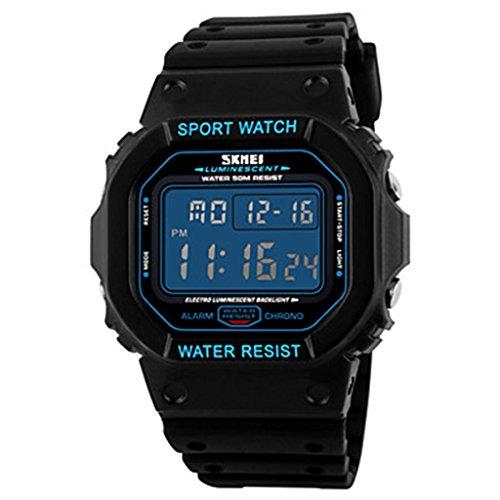 YPS Herrenmode Sportplatz LCD Digital Gummiband kuehle Armbanduhr Blau WTH3562