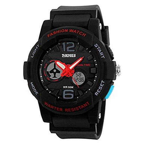 YPS Herrenmode Sport Double Time Alarm Stoppuhr Armbanduhr Schwarz WTH3304
