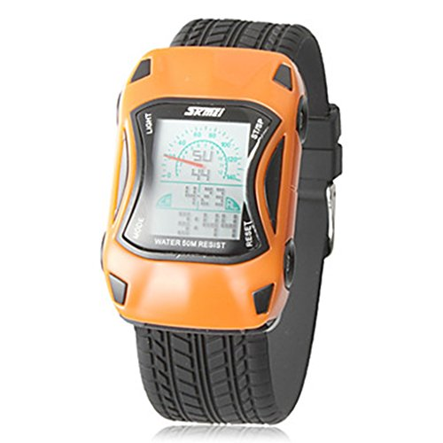 YPS Kinder Auto Form LCD Digital Silikon Band Armbanduhr orange WTH8250