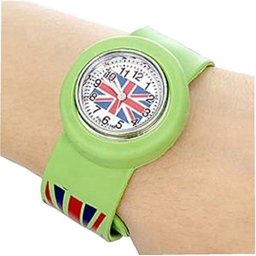 YPS Kinder UK Flagge Muster Biegsame Kunststoff Band Klaps Uhr gruen WTH2621