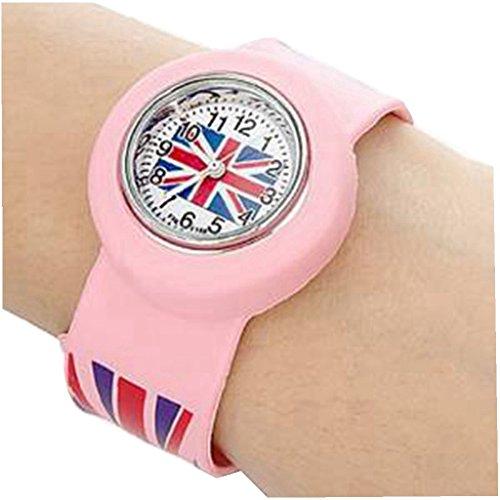 YPS Kinder UK Flagge Muster Biegsame Kunststoff Band Klaps Uhr pink WTH2623