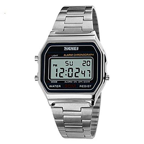 YPS Maenner klassische Fashion Square Digitale Stahl Sport Armbanduhr Chronograph Alarm Kalender WTH3271