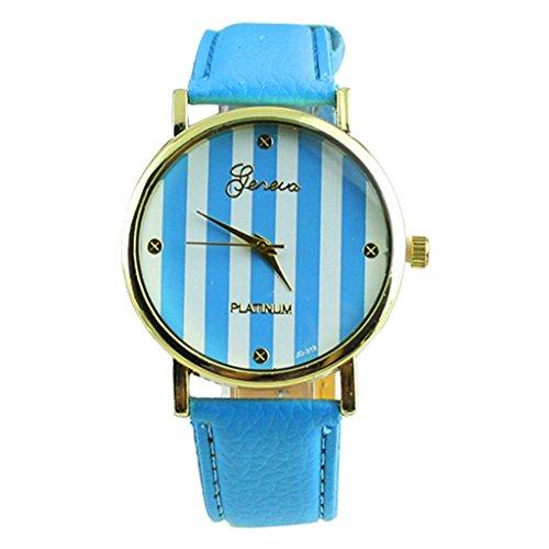 YPS Damen Herren Klassische Genfer Streifen drucken Leatheroid Analog Kleid Blau WTH0728