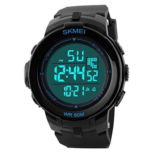 YPS M nner gro e LCD Anzeige Alarm Stoppuhr Gummiband Sport Armbanduhr Blau WTH3344