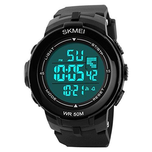 YPS M nner gro e LCD Anzeige Alarm Stoppuhr Gummiband Sport Armbanduhr Wei WTH3346