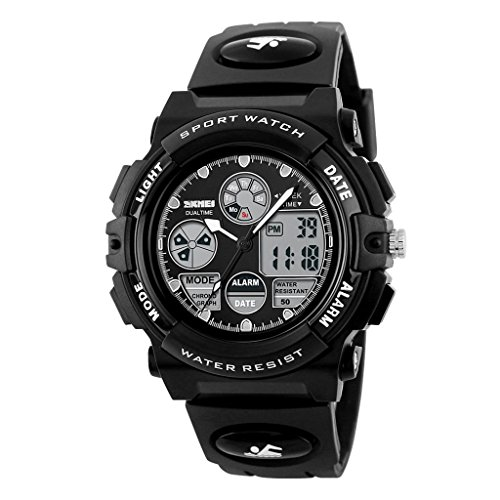 YPS Kinder LCD Digital Multifunktions Luminous Gummi Sport Armbanduhr Balack WTH3433