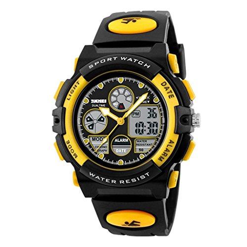 YPS Kinder LCD Digital Multifunktions Luminous Gummi Sport Armbanduhr Gelb WTH3436