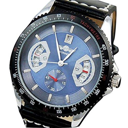 YPS Winner Sport Herren schwarzen Lederarmband Datum automatische mechanische Armbanduhr Blau WTH0734