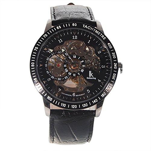 YPS Herren Lederband Automatik Mechanische Armbanduhr Schwarz WTH6006