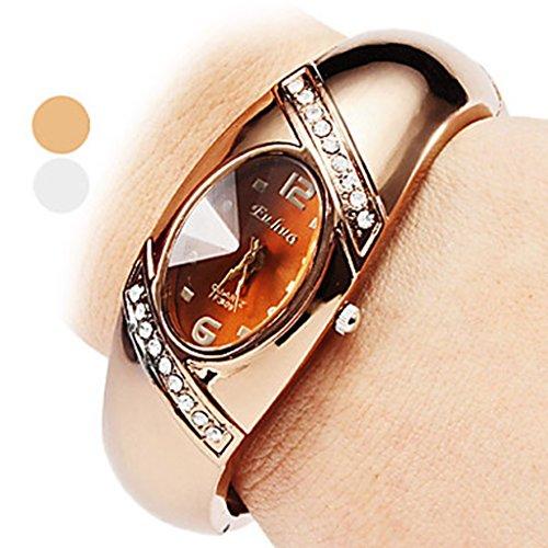 YPS Mode Damen Legierung Analog Quarz Armband Armbanduhr Bronze WTH 8084