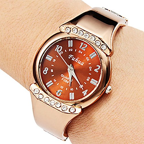 YPS Frauen Casual Stil Legierung Analog Quarz Armband Armbanduhr Bronze WTH8077