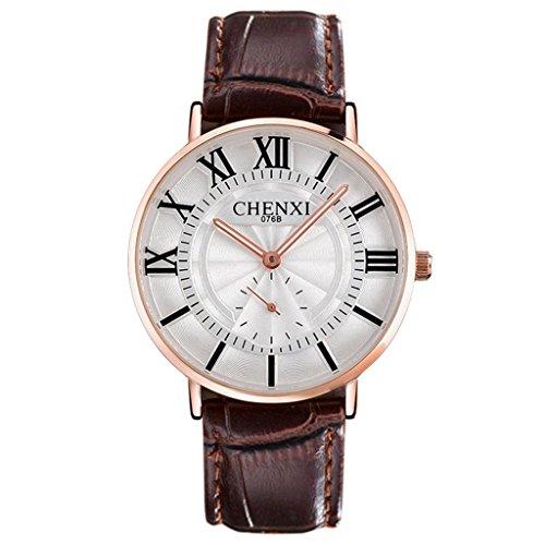 YPS Maenner Luxus Marken Art und beilaeufige Quarz klassischer echtes Leder Buegel Armbanduhr Brown WTH3486