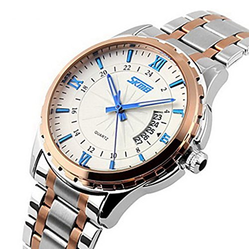 YPS Maenner Luxusmarke Datumsanzeige Kalender Edelstahl Blau WTH3557