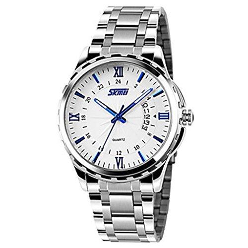 YPS Maenner Luxusmarke Datumsanzeige Kalender Edelstahl Quarz Armbanduhr Weiss Blau WTH3561