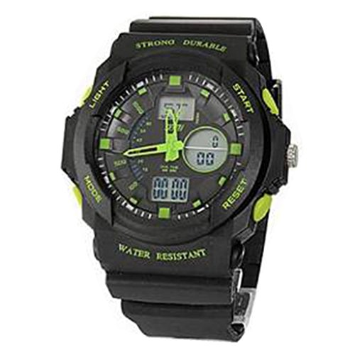 YPS Maenner analog digitale Multifunktionsgummiband Sport Armbanduhr gruen WTH2615