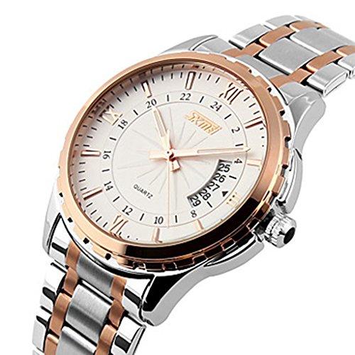 YPS Maenner Luxusmarke Datumsanzeige Kalender Edelstahl Gold WTH3558
