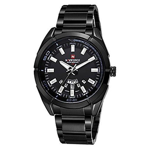 YPS Maenner Luxusmarke Datum Kalender Anzeige Schwarz Edelstahl Quarz Sport Armbanduhr Schwarz WTH3546