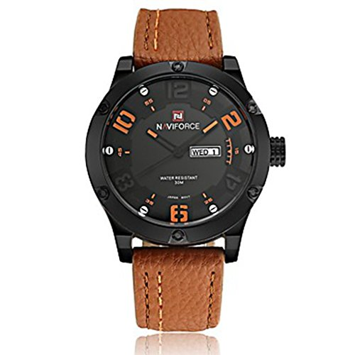 YPS Maenner Militaerarmee Mode Analog Datum Tag Quarz Leder Armbanduhr orange WTH3603