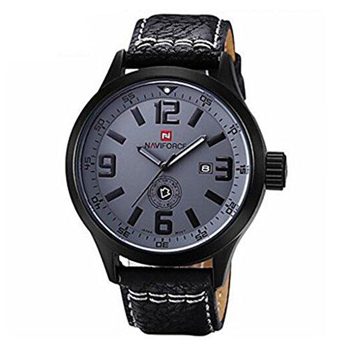 YPS Maenner Militaerarmee Mode Analog Tag Datum Quarz Leder Armbanduhr Schwarz Weiss WTH3575