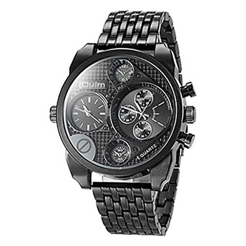 YPS Maenner Military Dual Time Zones Stahl Band Schwarz WTH8362