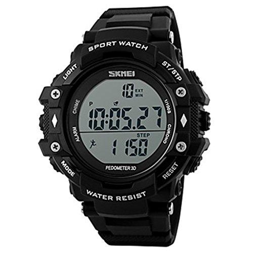 YPS Maenner Tough Mode Pedometer 3D Digital Sport Armbanduhr Schwarz WTH3538