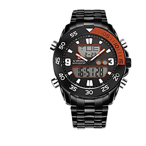 YPS Maenner Sport Digital Quarz Dual Bewegung LCD Display voll Edelstahl Band Armbanduhr orange WTH3456