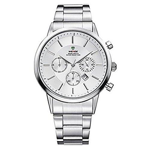 YPS Mann Quarz Sport Luxury Brand voller Stahl Komplett Kalender Armbanduhr Wei WTH3386