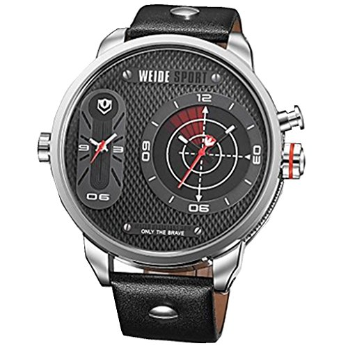 YPS Mann Sport Luxury Oversized Dual Time Zones Genuine Leather Strap WTH2944