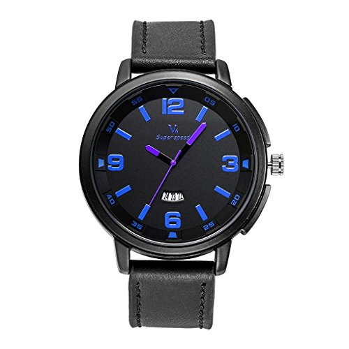 YPS M nner Marke Luxus L ssige Milit rsport Leder Kalender Blau WTH8400