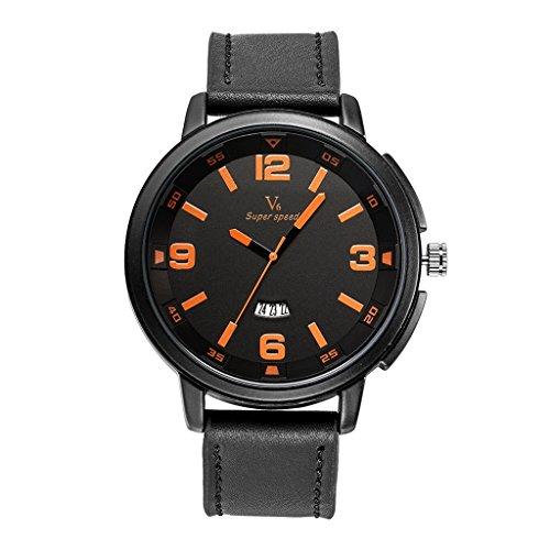 YPS M nner Marke Luxus L ssige Milit rsport Leder Kalender orange WTH8398