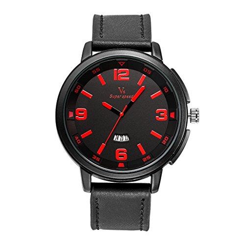 YPS M nner Marke Luxus L ssige Milit rsport Leder Kalender Rot WTH8399