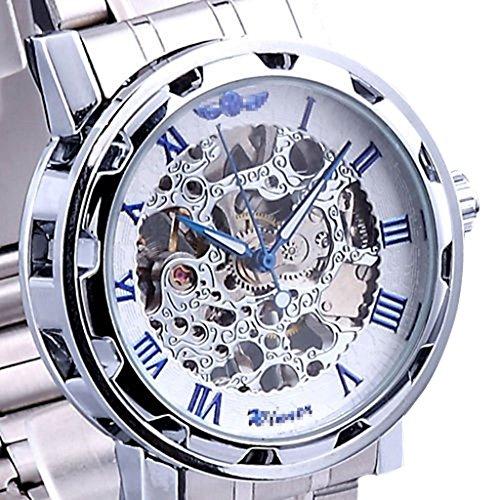 YPS mechanische Skeleton Mens Edelstahl Armbanduhr blau WTH8043