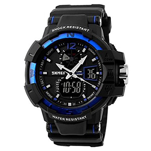 YPS Maenner Military Design Multifunktions Dual Time Zones Rubber Band Sportliche Armbanduhr blau WTH0982