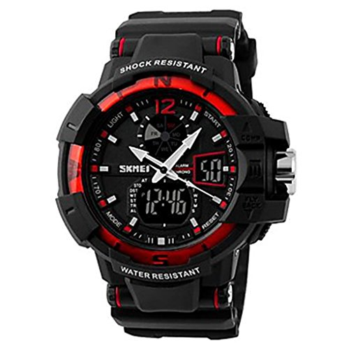 YPS Maenner Military Design Multifunktions Dual Time Zones Rubber Band Sportliche Armbanduhr Red WTH0983
