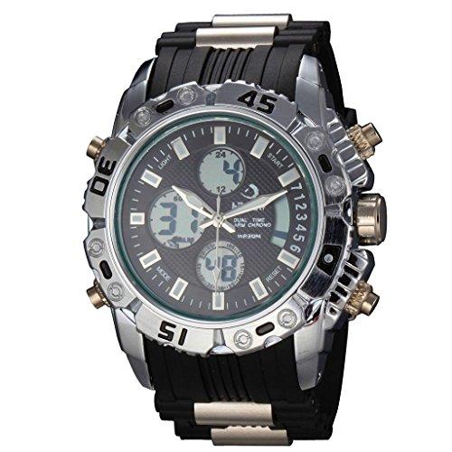 YPS Maenner Military Style Multifunktions Dual Time Zones Gummiband Armbanduhr schwarz WTH2842