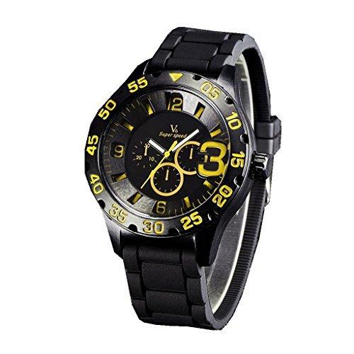 YPS Mens Boy Military 3 Dials Style Silicone Strap Sport Quartz Analog Wrist Watch WTH3152