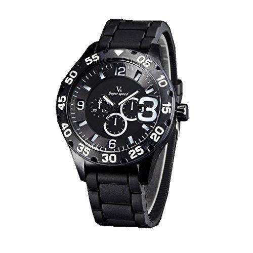 YPS Mens Boy Military 3 Dials Style Silicone Strap Sport Quartz Analog Wrist Watch WTH3154