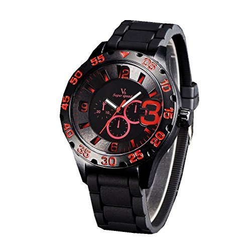 YPS Mens Boy Military 3 Dials Style Silicone Strap Sport Quartz Analog Wrist Watch WTH3156