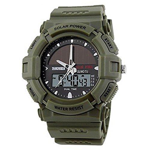 YPS Herren Solar Powered Multifunktionale Dual Time Zones Rubber Band Sportliche Armbanduhr Marine Gruen WTH0970