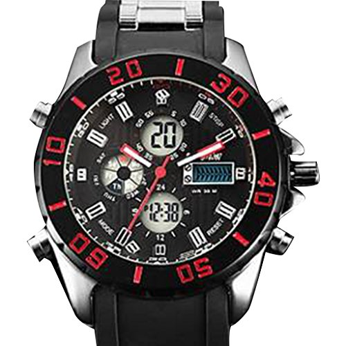 YPS Herren Multifunktions Militaerstil Stahl runden Zifferblatt Rubber Band Analog rot Wth2751