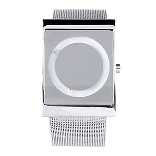 YPS Herren Persaenlichkeit Fashion Steel Belt Design analoge Weiss WTH8386
