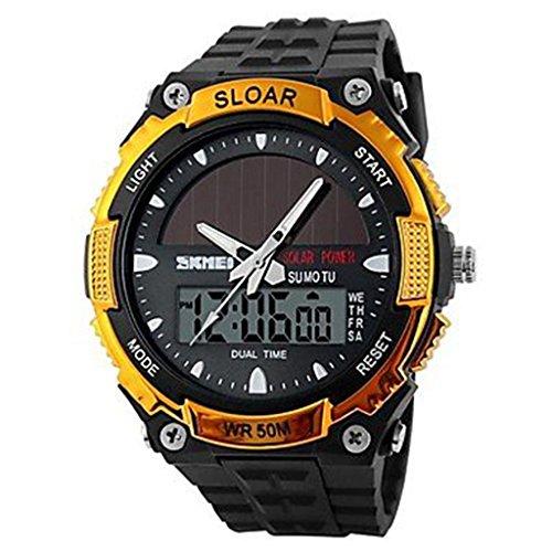 YPS Herren Solar Powered Multifunktionale Dual Time Zones Rubber Band Sportliche Armbanduhr Golden WTH0979