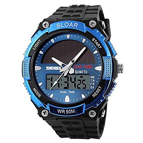 YPS Herren Solar Powered Multifunktionale Dual Time Zones Rubber Band Sportliche Armbanduhr blau WTH0977