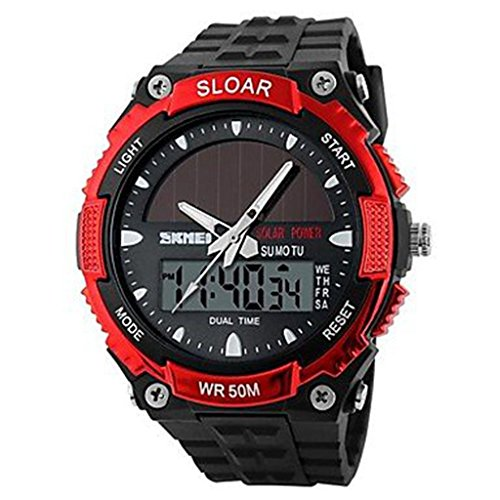 YPS Herren Solar Powered Multifunktionale Dual Time Zones Rubber Band Sportliche Armbanduhr Red WTH0978