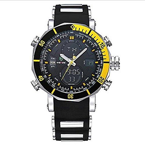 YPS M nner Sport Milit r Quarz Digital Alarm Stoppuhr zwei Zeitzonen Armbanduhr Gelb WTH3388