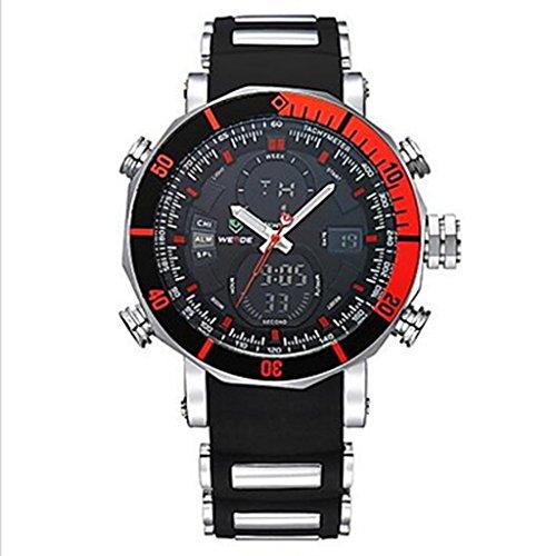 YPS M nner Sport Milit r Quarz Digital Alarm Stoppuhr zwei Zeitzonen Armbanduhr Rot WTH3393