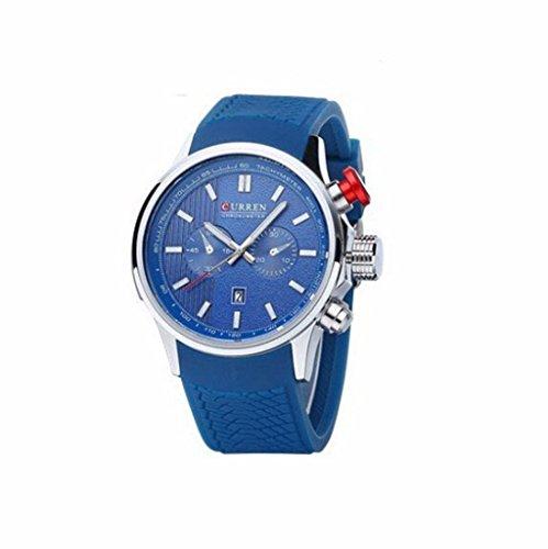 YPS Men 2 Dials Quarz Silikon Buegel Art und Weise beilaeufige Kalender Datum Armbanduhr WTH4604