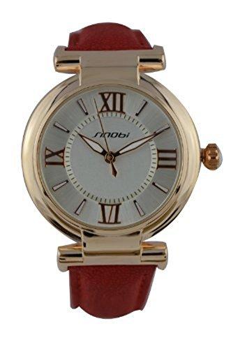 YPS Damen Analog roemischen Wahlnummer PU Leder Armbanduhr rotes WTH0280