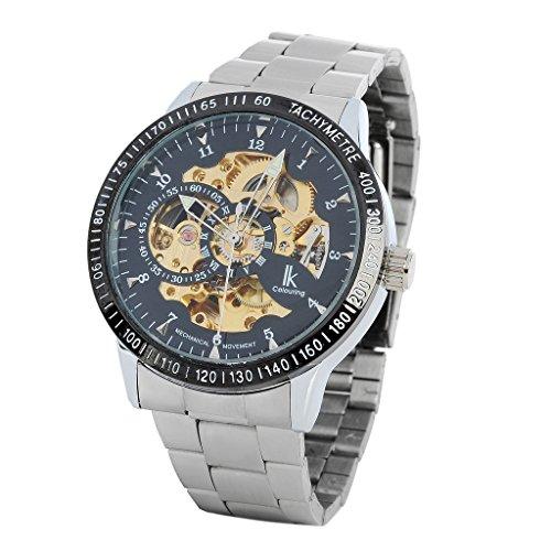 YPS Herren Edelstahl Selbst Wickeln Mechanische Tachymeter Armbanduhr Silber Schwarz Glod WTH6004
