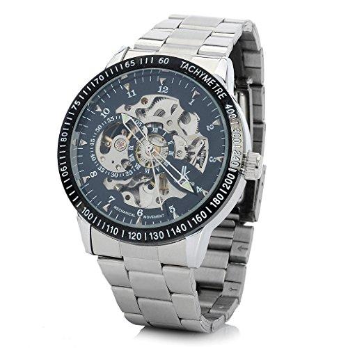 YPS Herren Edelstahl Selbstaufzug Mechanische Tachometer Armbanduhr Schwarz Silber WTH6005